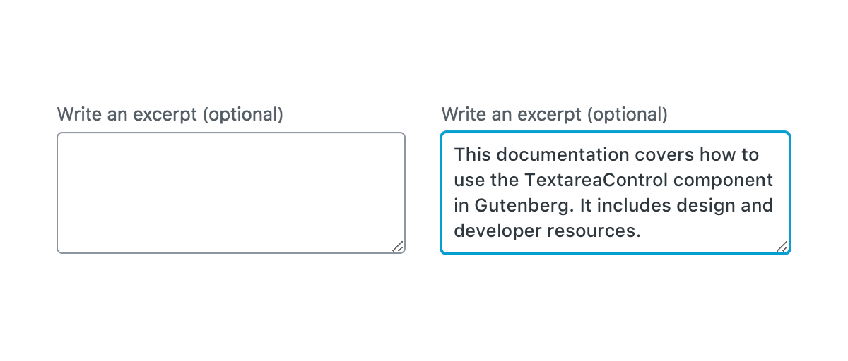 An empty TextareaControl, and a focused TextareaControl with some content entered.