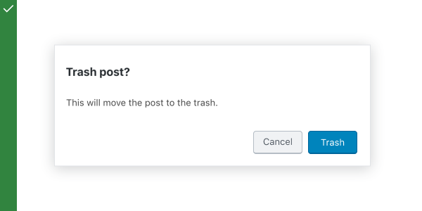 "A modal that asks ""Trash post?"""