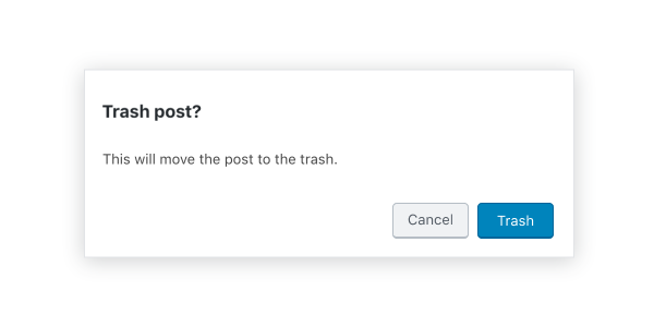 An alert modal for trashing a post