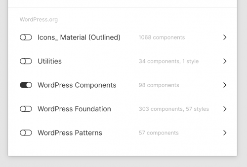 Switching on the WordPress components libray in Figma