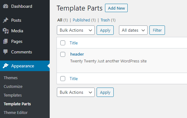 The template parts view in the admin area displays a list of all saved template parts
