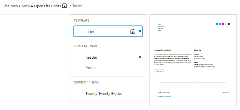 Site editor toolbar template menu