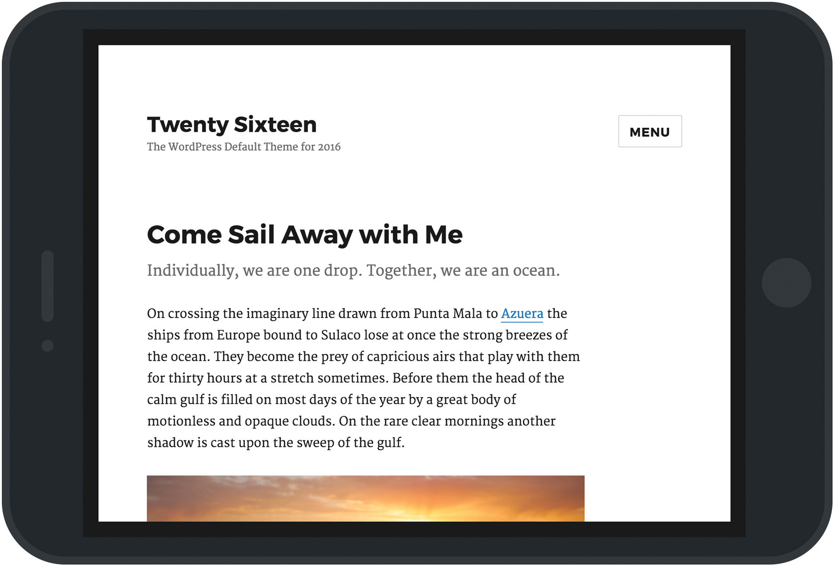 A screenshot of Twenty Sixteen set in an iPad frame