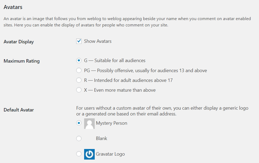 Avatar rating and default icon