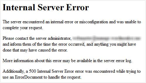 Capture d'écran du message Internal Server Error