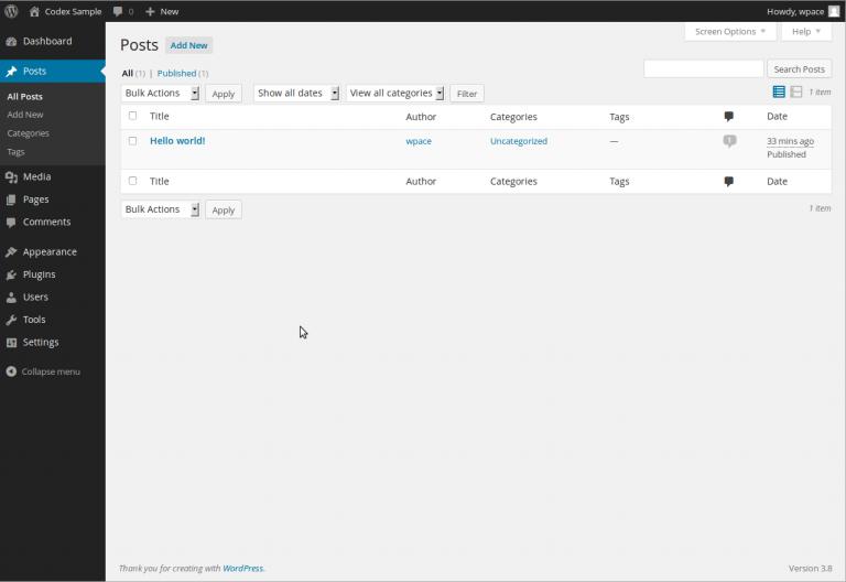 WordPress administration post list screen