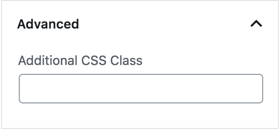 The advanced section lets you add a CSS class to your block.