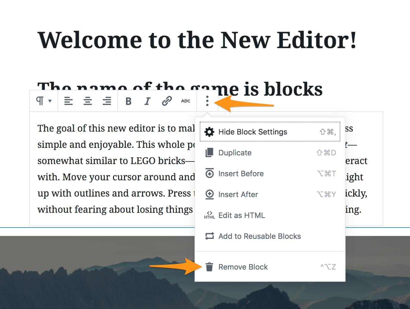 Remove a block
