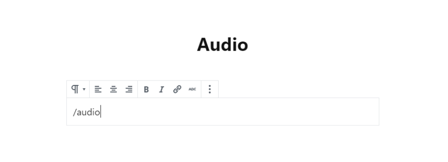 Use the slash command /audio to insert an audio block.
