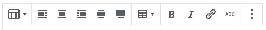 The Table Block toolbar includes alignment, formatting and an edit table button.