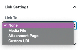 Image link options including none, media file, attachment page and custom URL