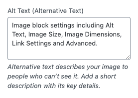 The Alt Text option for the image you add to your page or post