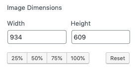 Image dimension options allowing you to set a width and height or a size percentage