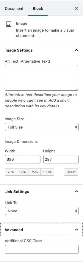Image block settings including Alt Text, Image Size, Image Dimensions, Link Settings and Advanced.