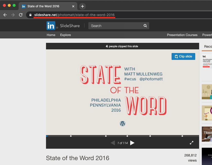 Chrome web browser with the link to the slideshare for sharing