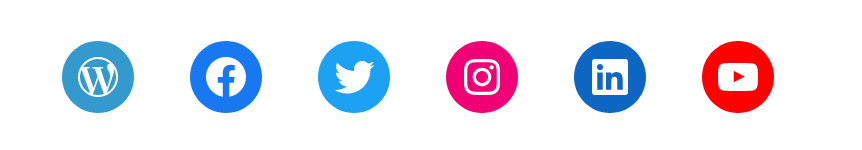 A screenshot of the social icons block filled with social icons