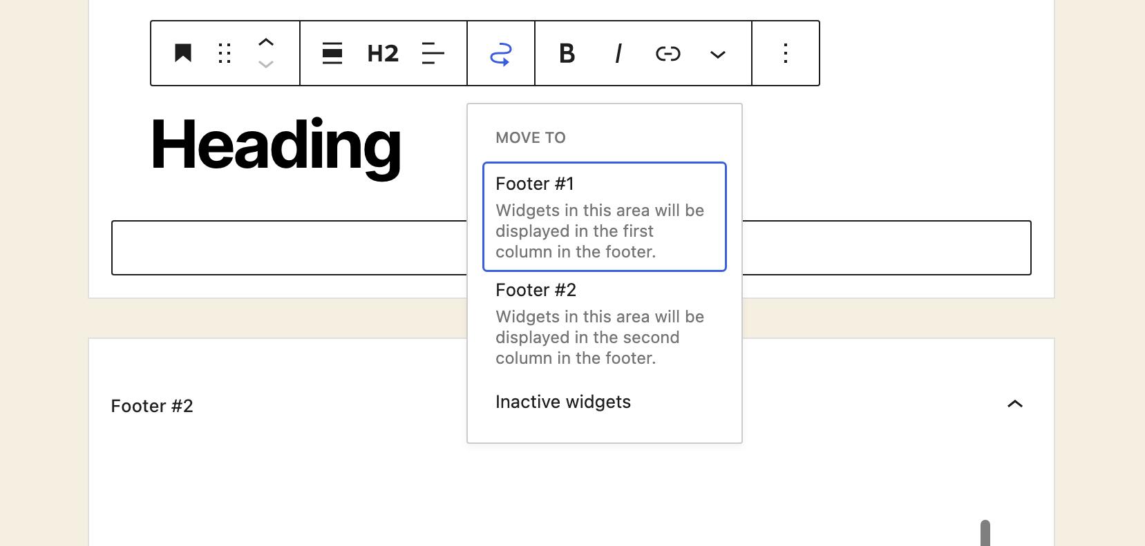 Déplacement de blocs d'un emplacement de widgets à un autre